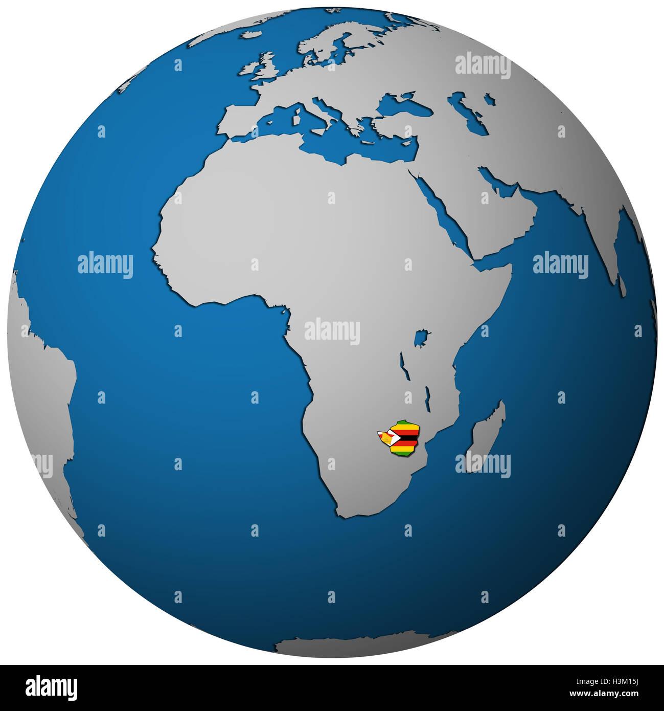 zimbabwe territory with flag on map of globe Stock Photo: 122756526 ...