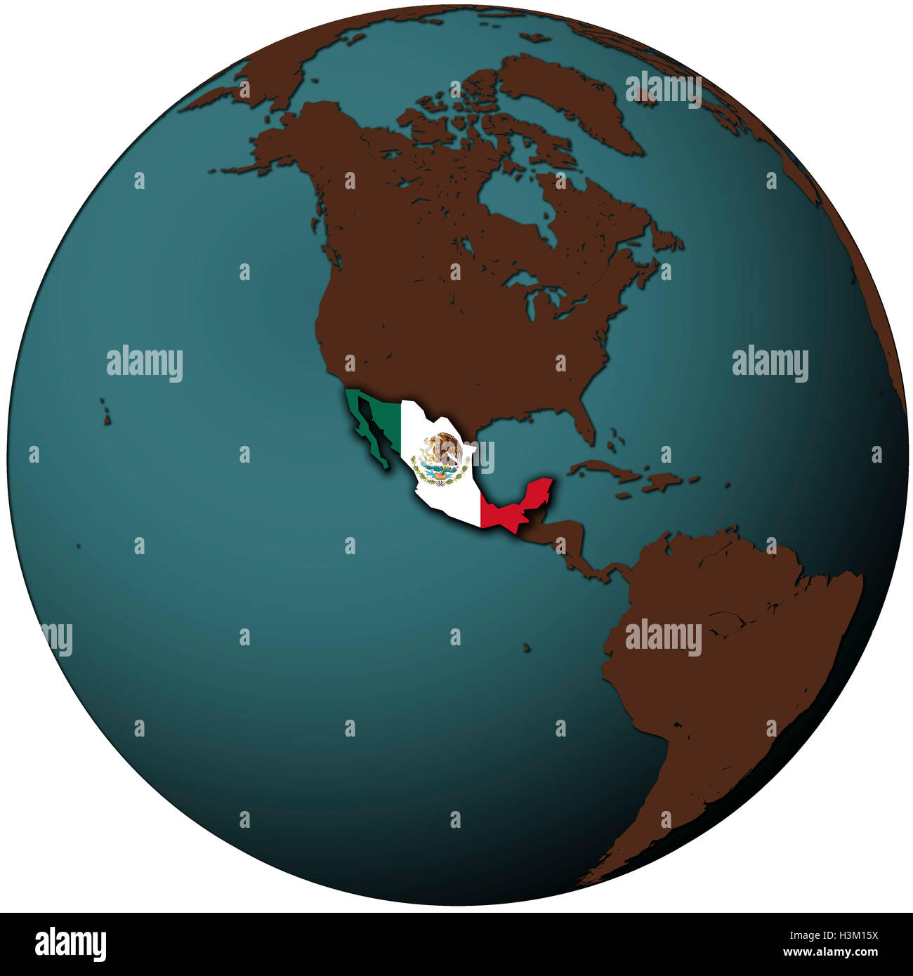 mexico flag on map of earth globe Stock Photo: 122756534 - Alamy