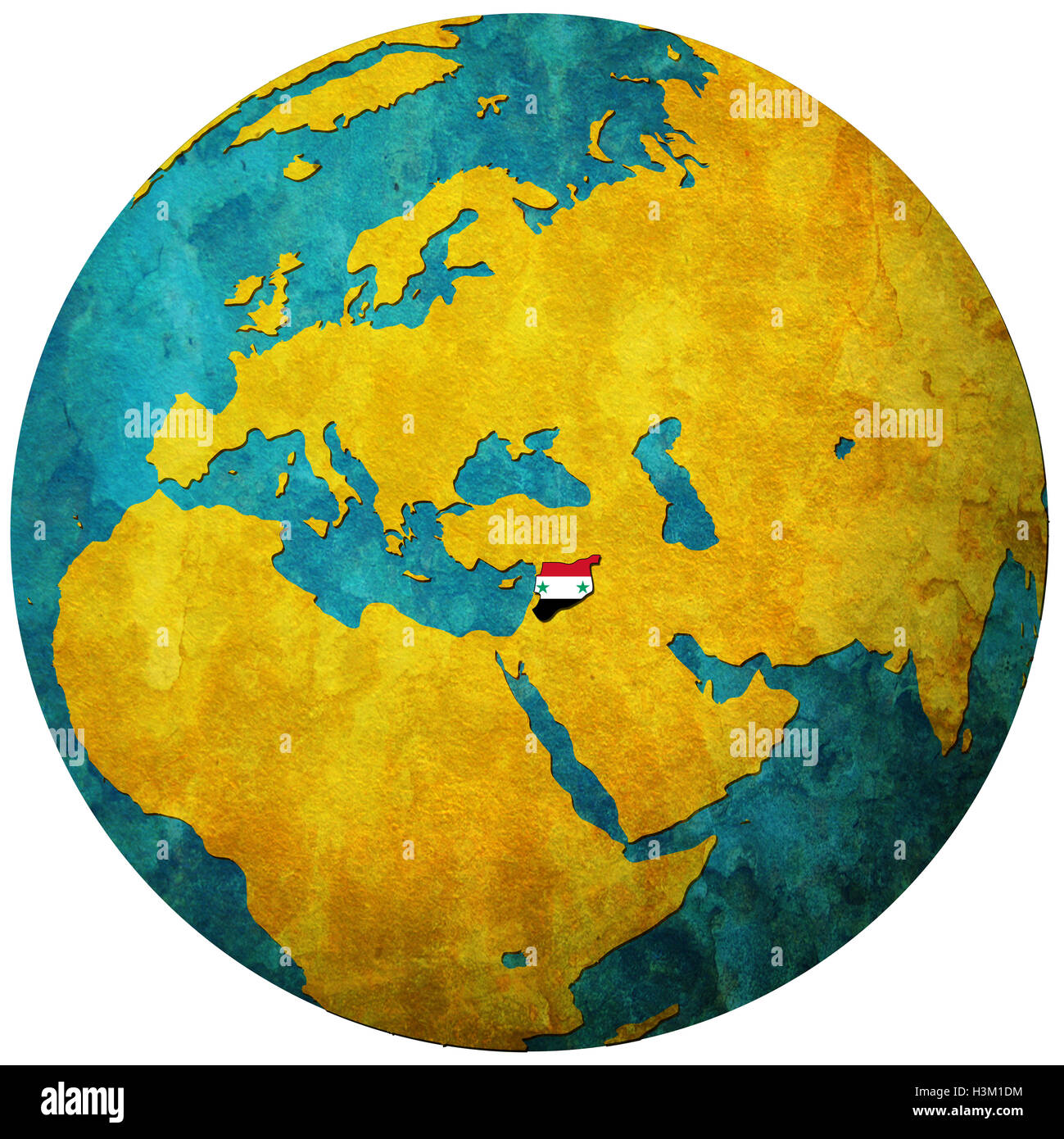 syria territory with flag on map of globe Stock Photo