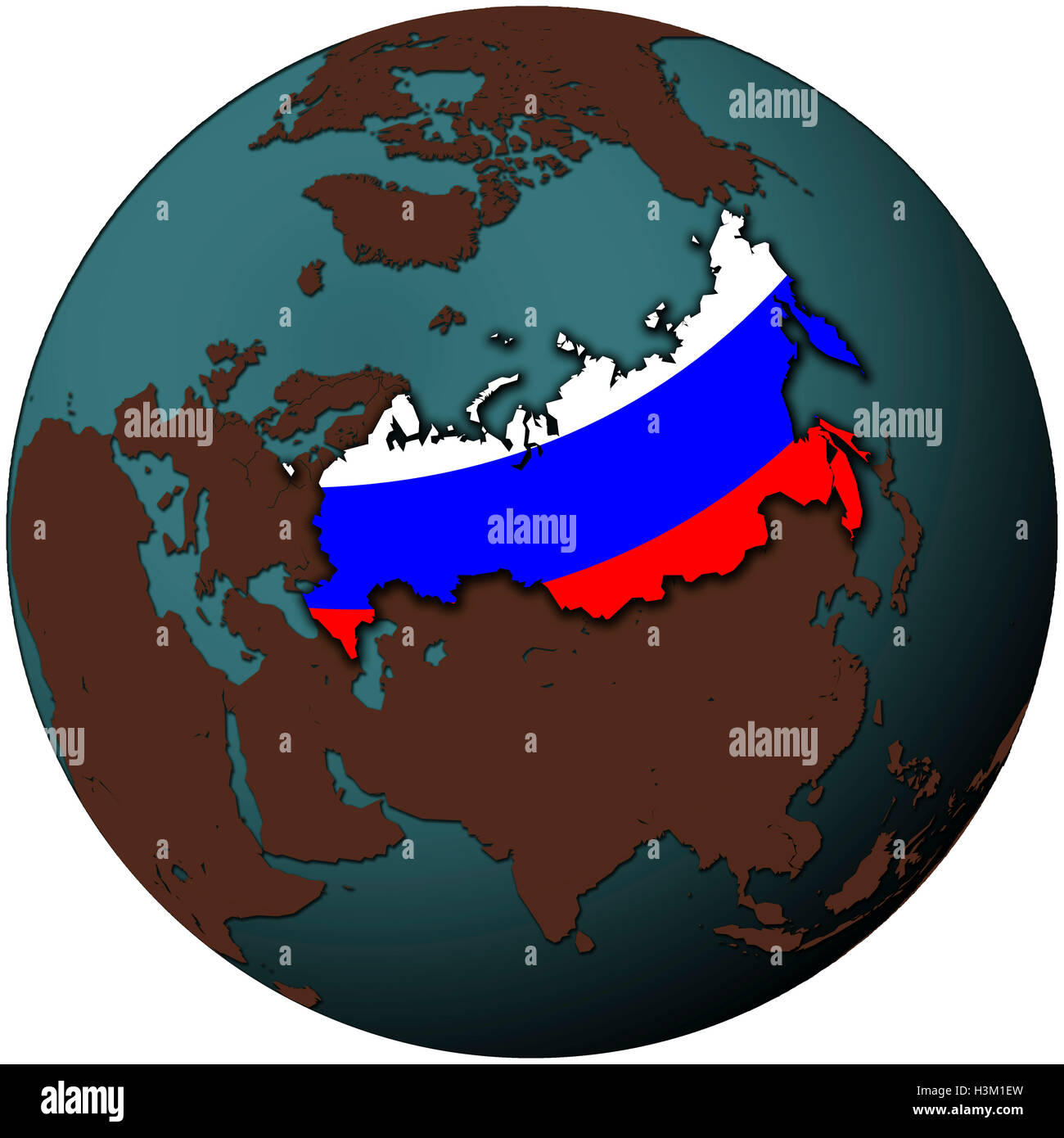 Russia Flag On Map Of Earth Globe Stock Photo 122756785 Alamy
