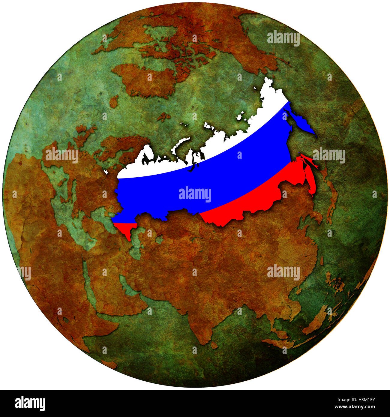 Russia flag on map of earth globe stock photo 122756787 alamy russia flag on map of earth globe gumiabroncs Choice Image