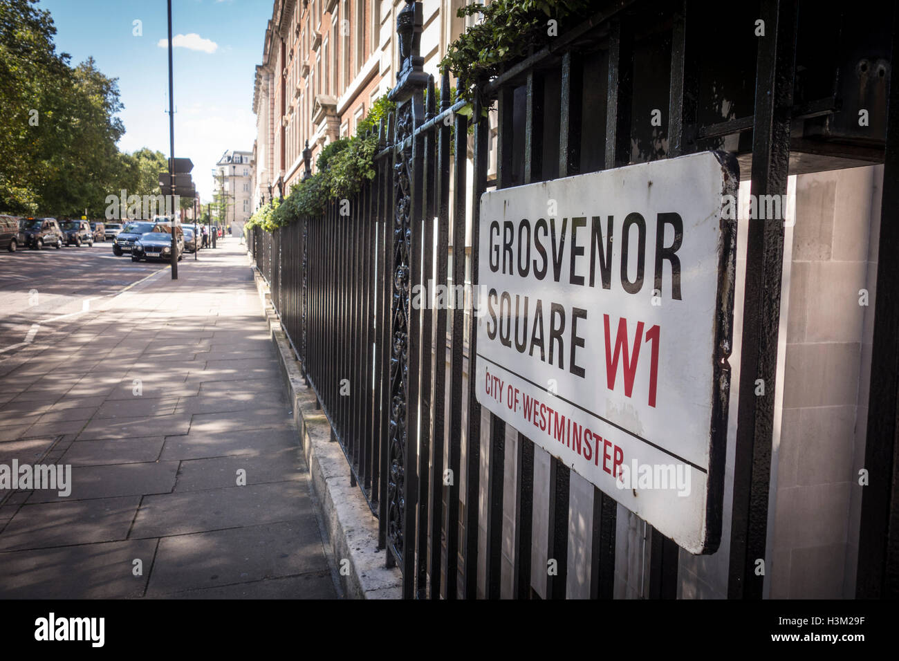 Grosvenor Square sign, Westminster, London, UK - Stock Image