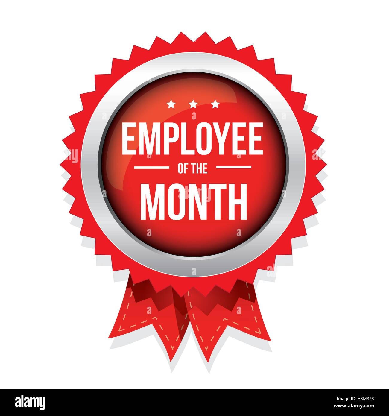 employee of the month badge with ribbon stock vector art