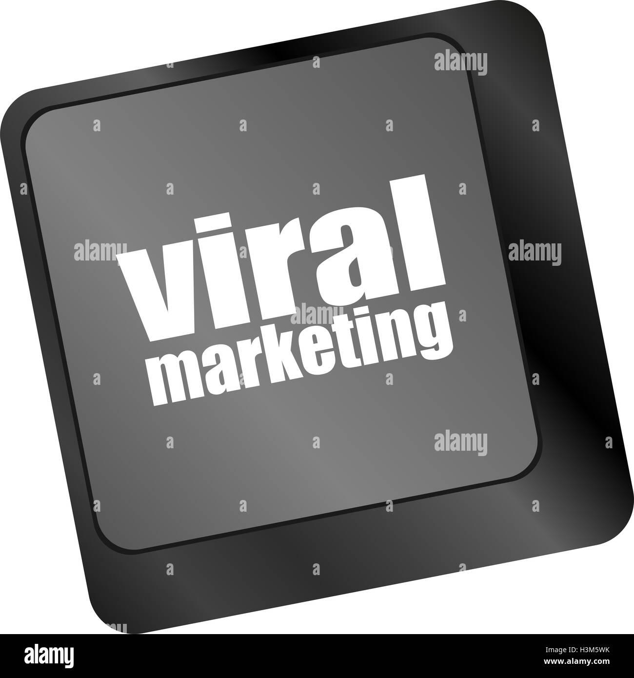 viral marketing word on computer keyboard key - Stock Image