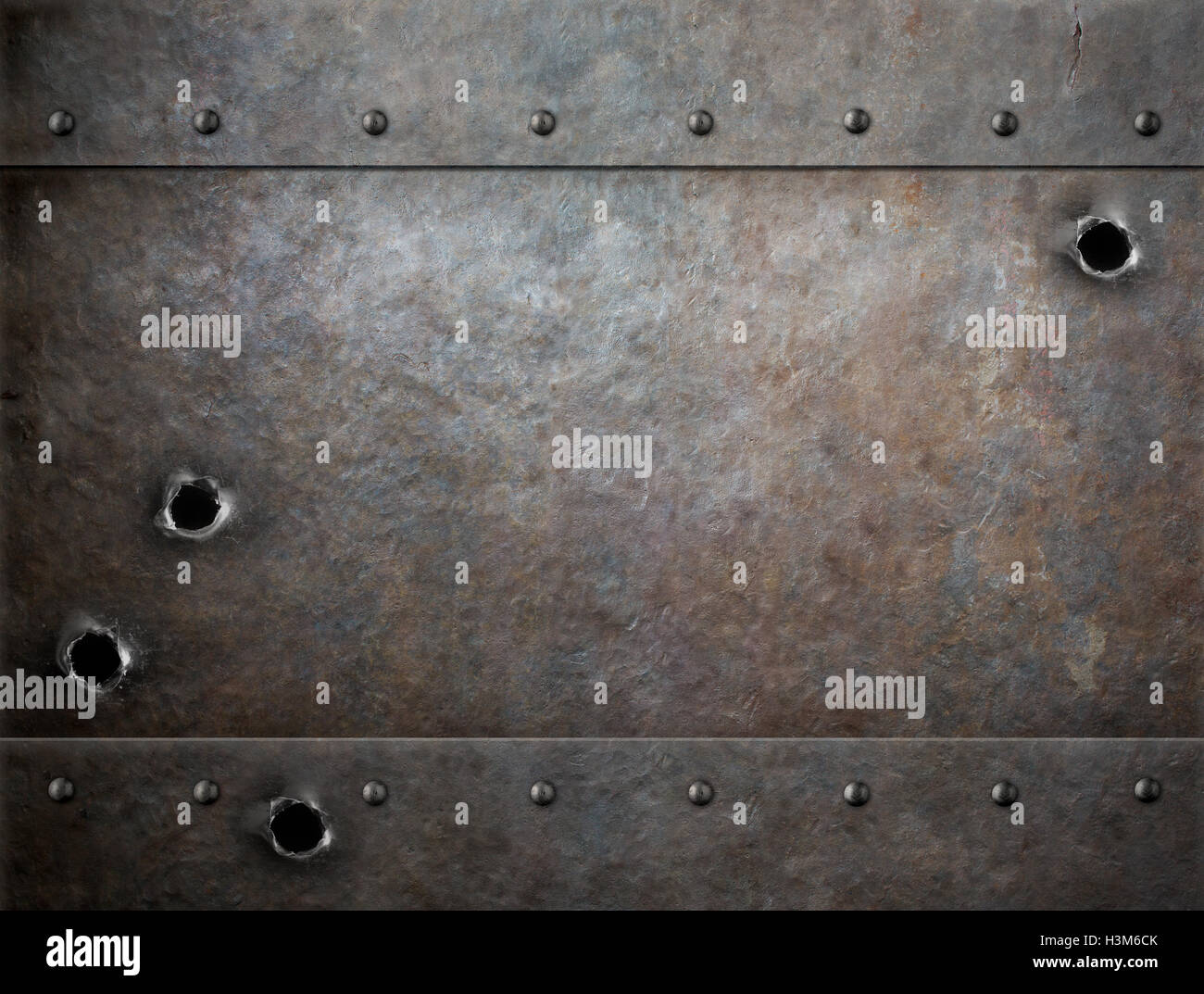 Old Metal Background With Bullet Holes Stock Photo