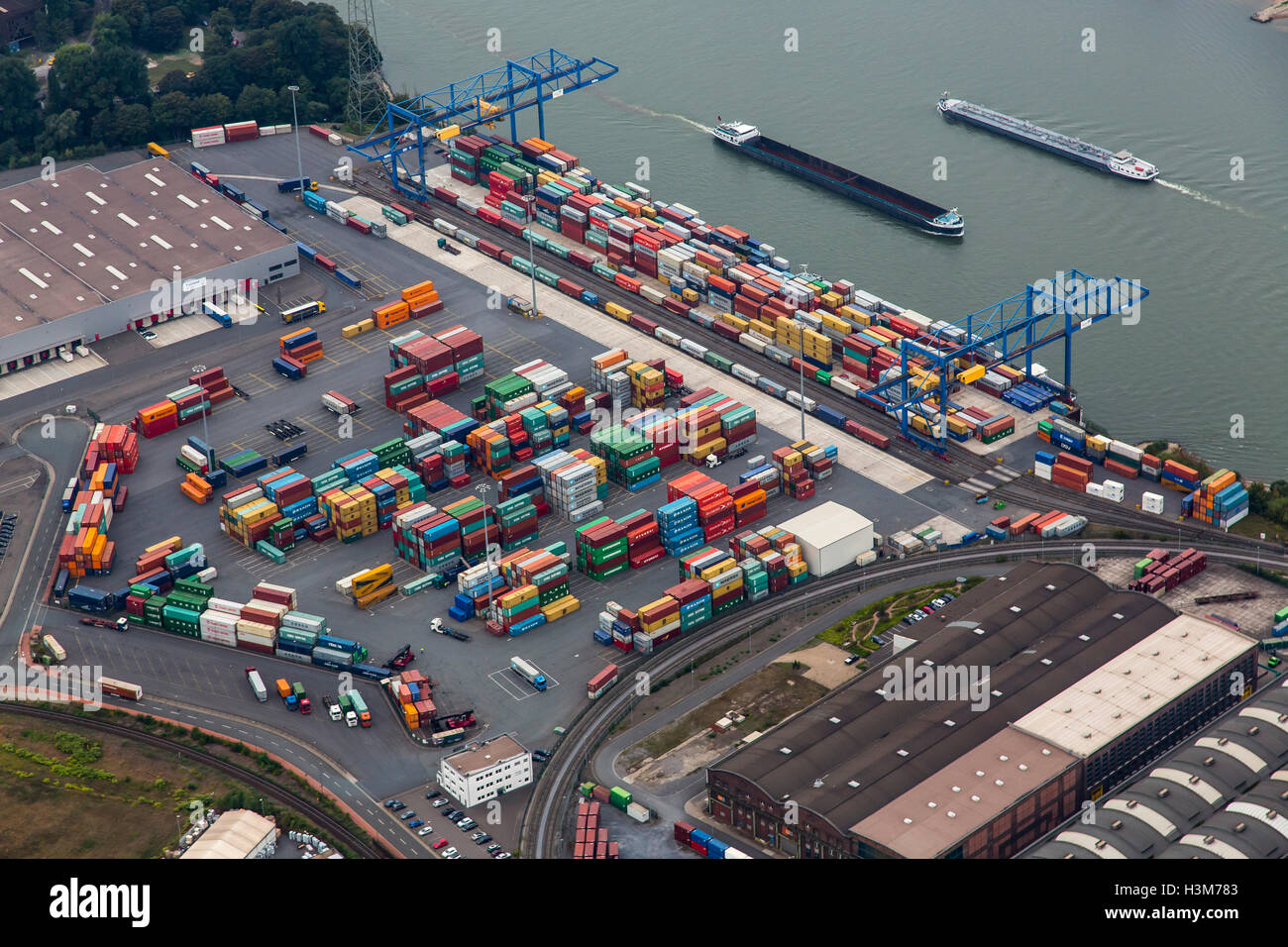 Areal view of inland port Duisburg, Germany, river Rhine, Rhein-Ruhr Terminal, container terminal, - Stock Image