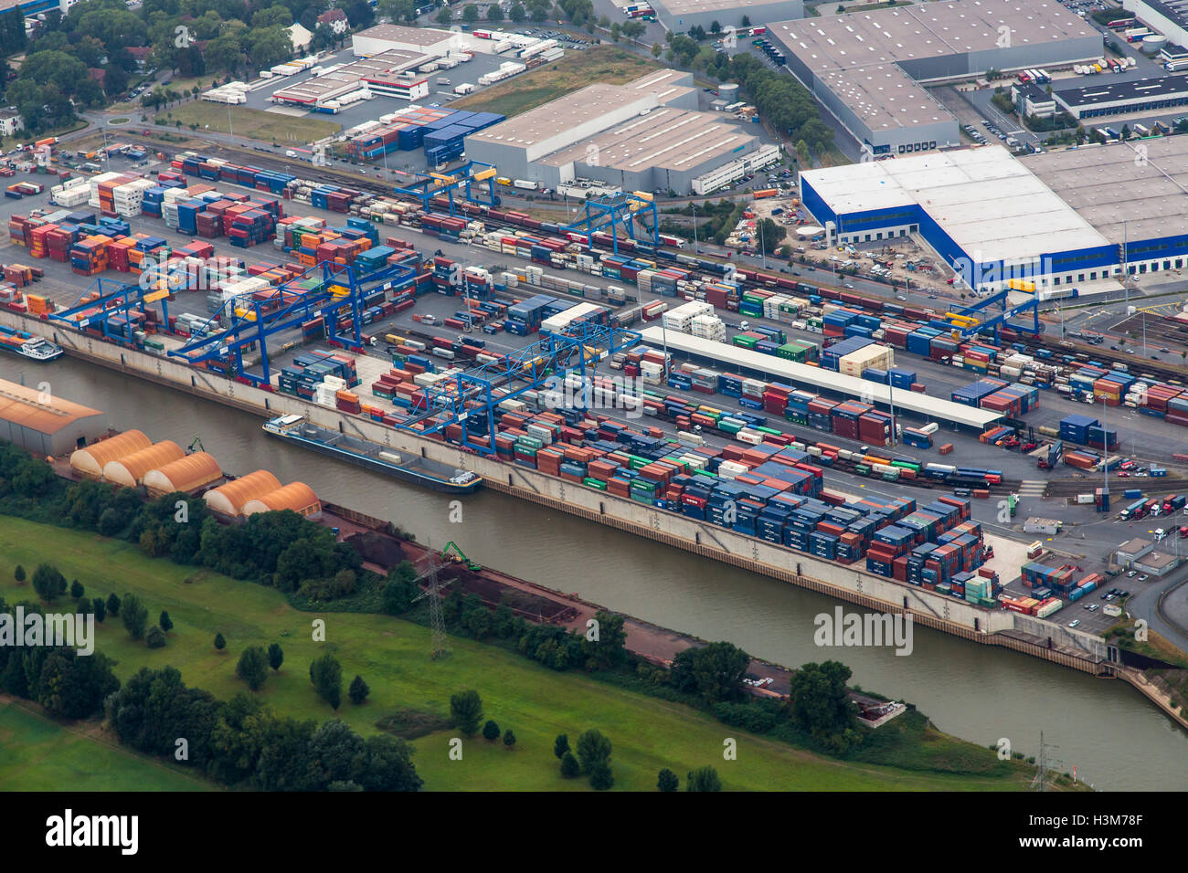 Areal view of inland port Ruhrort, Duisburg, Germany, river Rhine, Logport cargo container terminal, harbor, port, - Stock Image