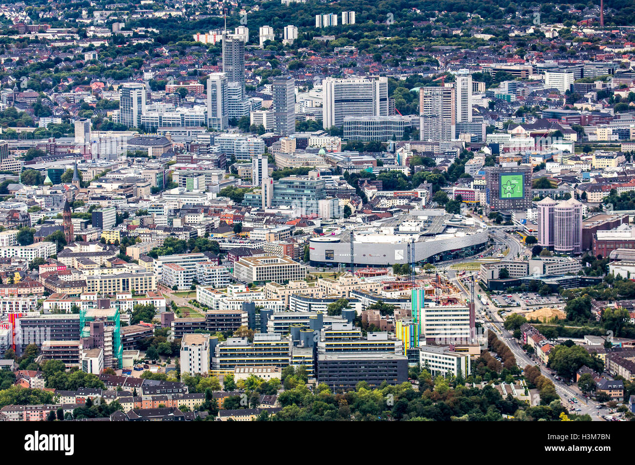 areal shot of the city of essen germany city center downtown area stock photo 122761401 alamy. Black Bedroom Furniture Sets. Home Design Ideas