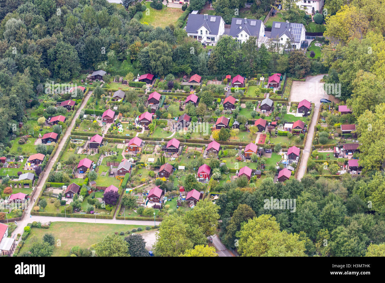 Areal view of small private gardens, not for living, just for gardening, plants, vegetables, leisure, Essen, Germany - Stock Image