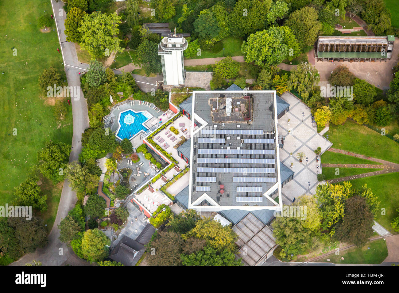 Areal view of the Gruga Therme, a wellness, spa with pools, sauna, in the Gruga Park, Essen, Germany, - Stock Image