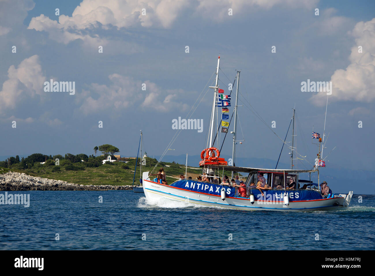 Antipaxos ferry Gaios Harbour Paxos Ionian Islands Greece - Stock Image