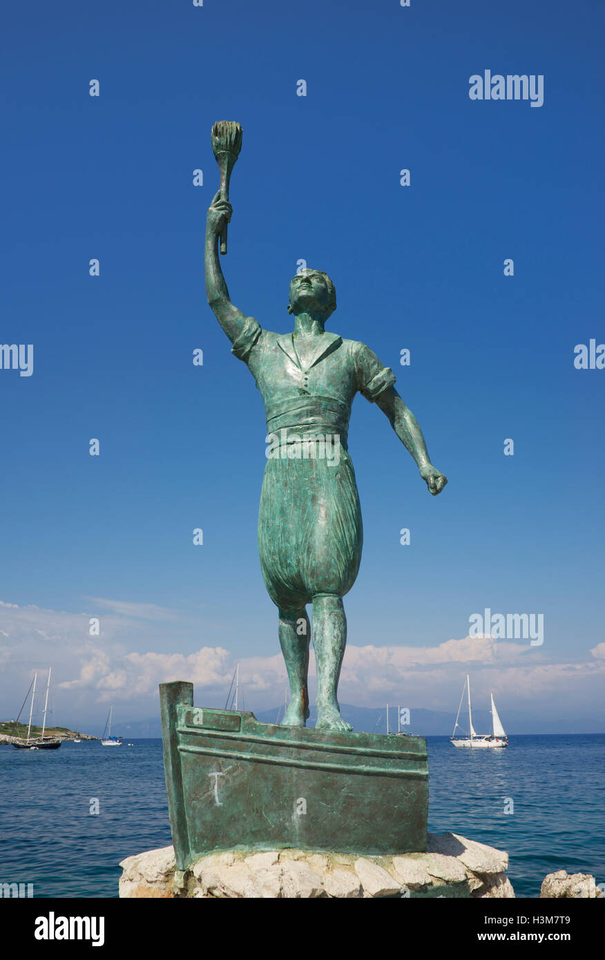Statue of Georgios Anemogiannis entrance Gaios harbour Paxos Ionian Islands Greece - Stock Image