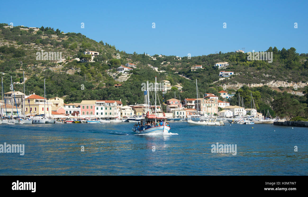 Ferry leaving Gaios Harbour Paxos Ionian Islands Greece - Stock Image