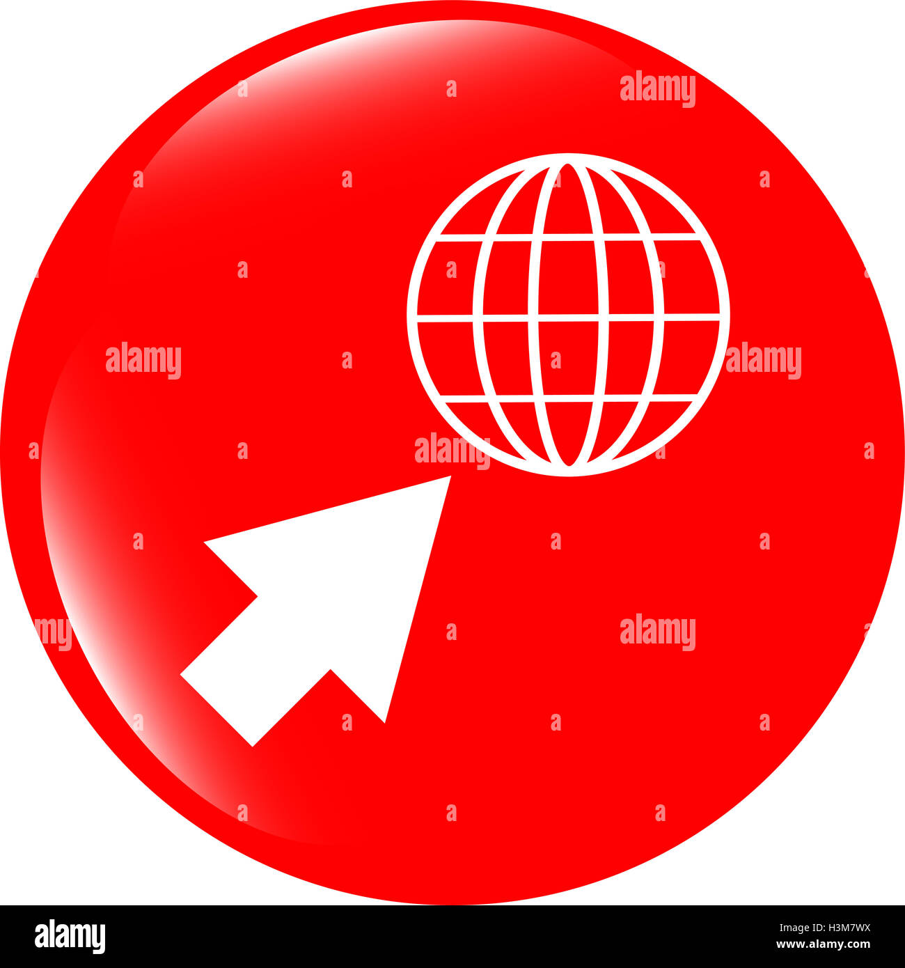 Internet sign icon. World wide web symbol. Cursor pointer. Circles buttons - Stock Image