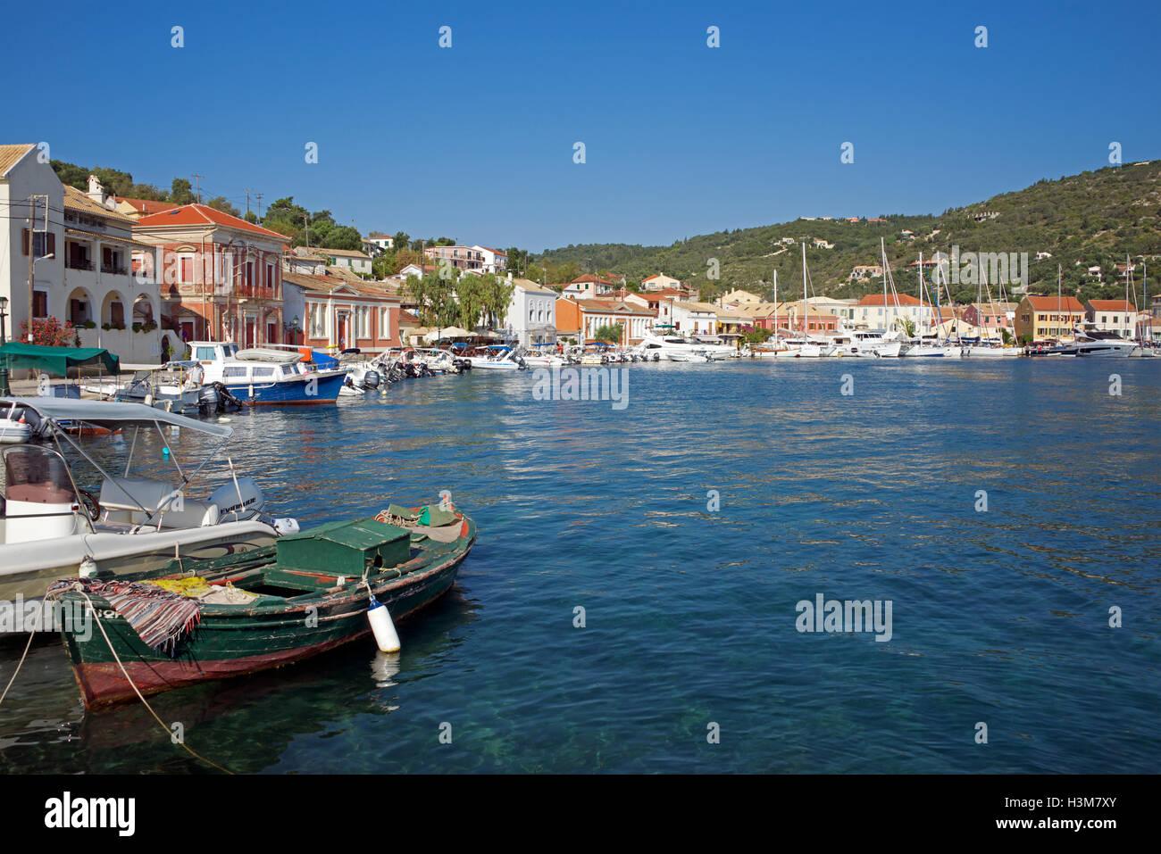Panoramic view Gaios Harbour Paxos Ionian Islands Greece - Stock Image