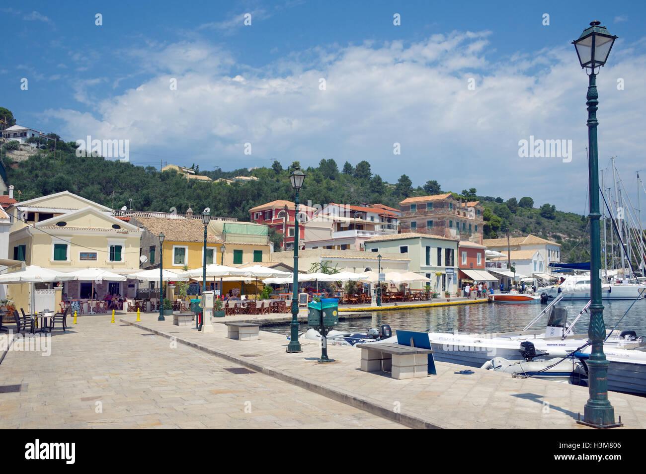 Waterfront buildings and promenade Gaios port Paxos Ionian Islands Greece - Stock Image