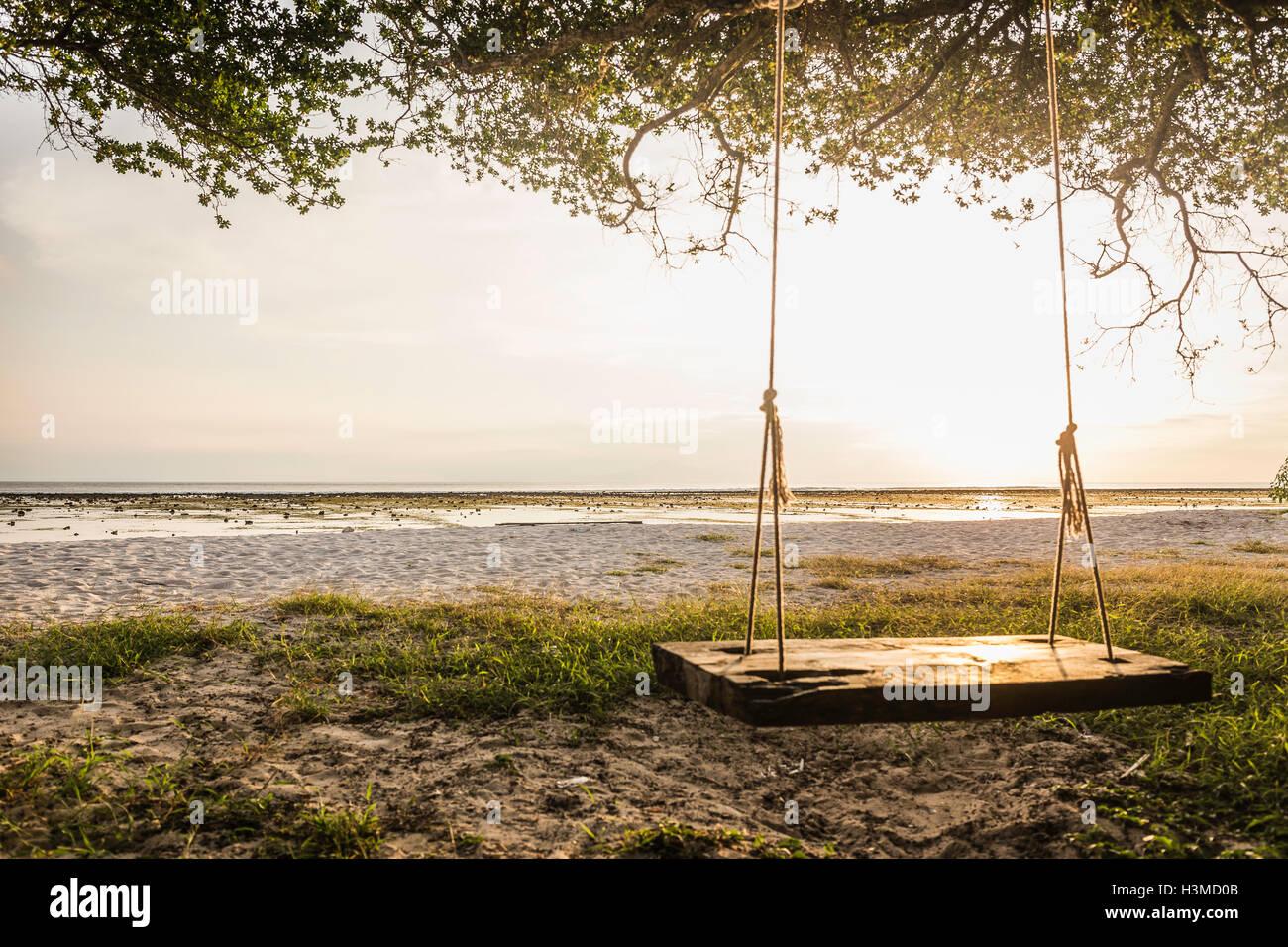 Empty beach tree swing at sunset, Gili Trawangan, Lombok, Indonesia - Stock Image