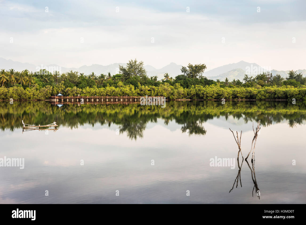 View of lake, Gili Meno, Lombok, Indonesia - Stock Image