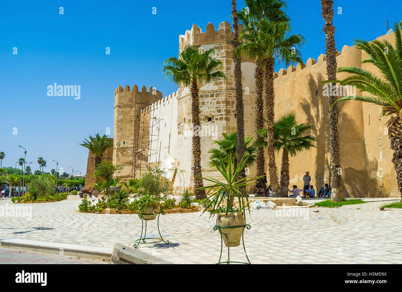 The Old Town Walls Of Sfax Surrounded By Tropic Garden In Sfax