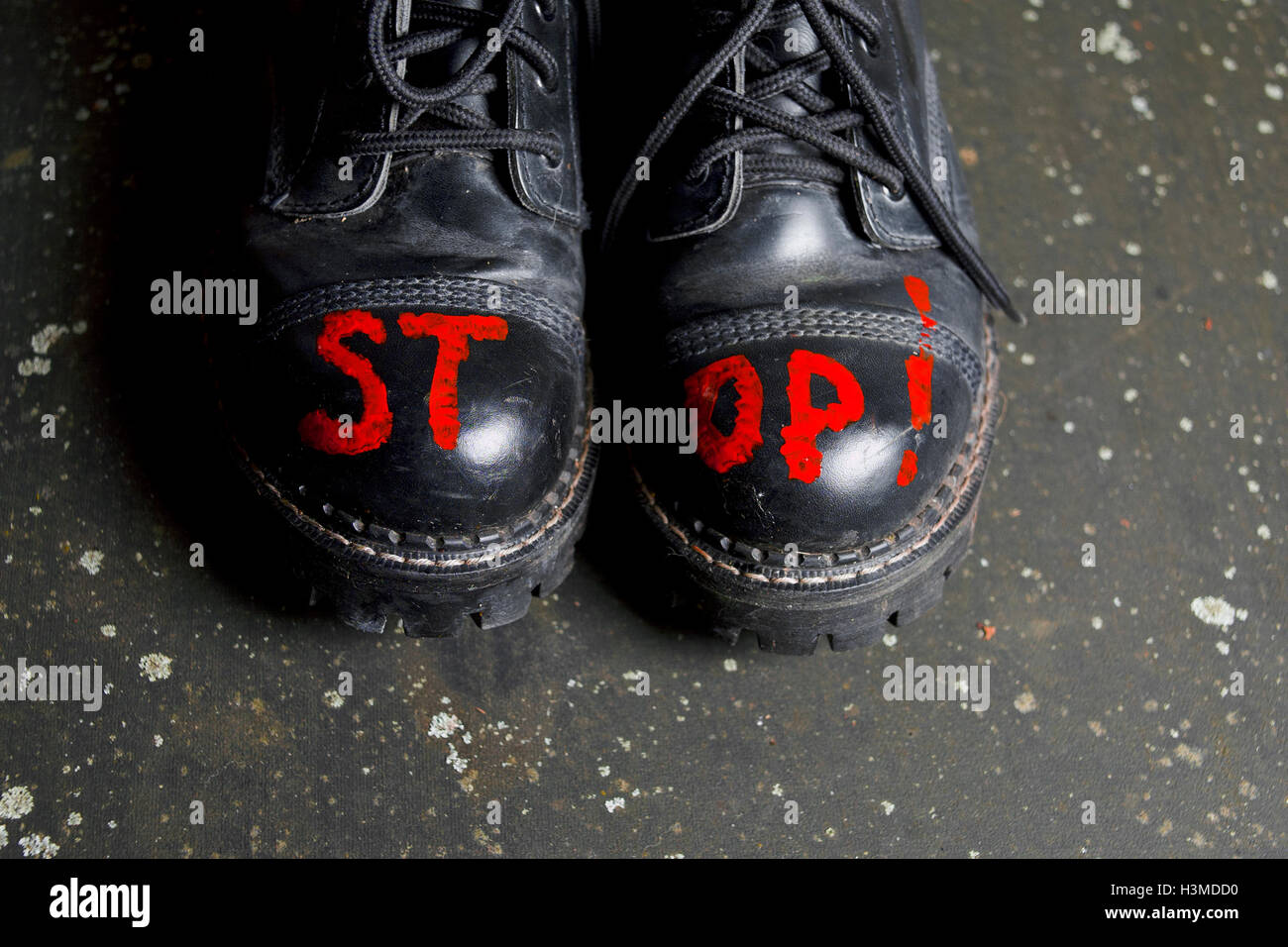 5cf6a51c46b53 Stop Sign On Shoes Stock Photo  122766140 - Alamy