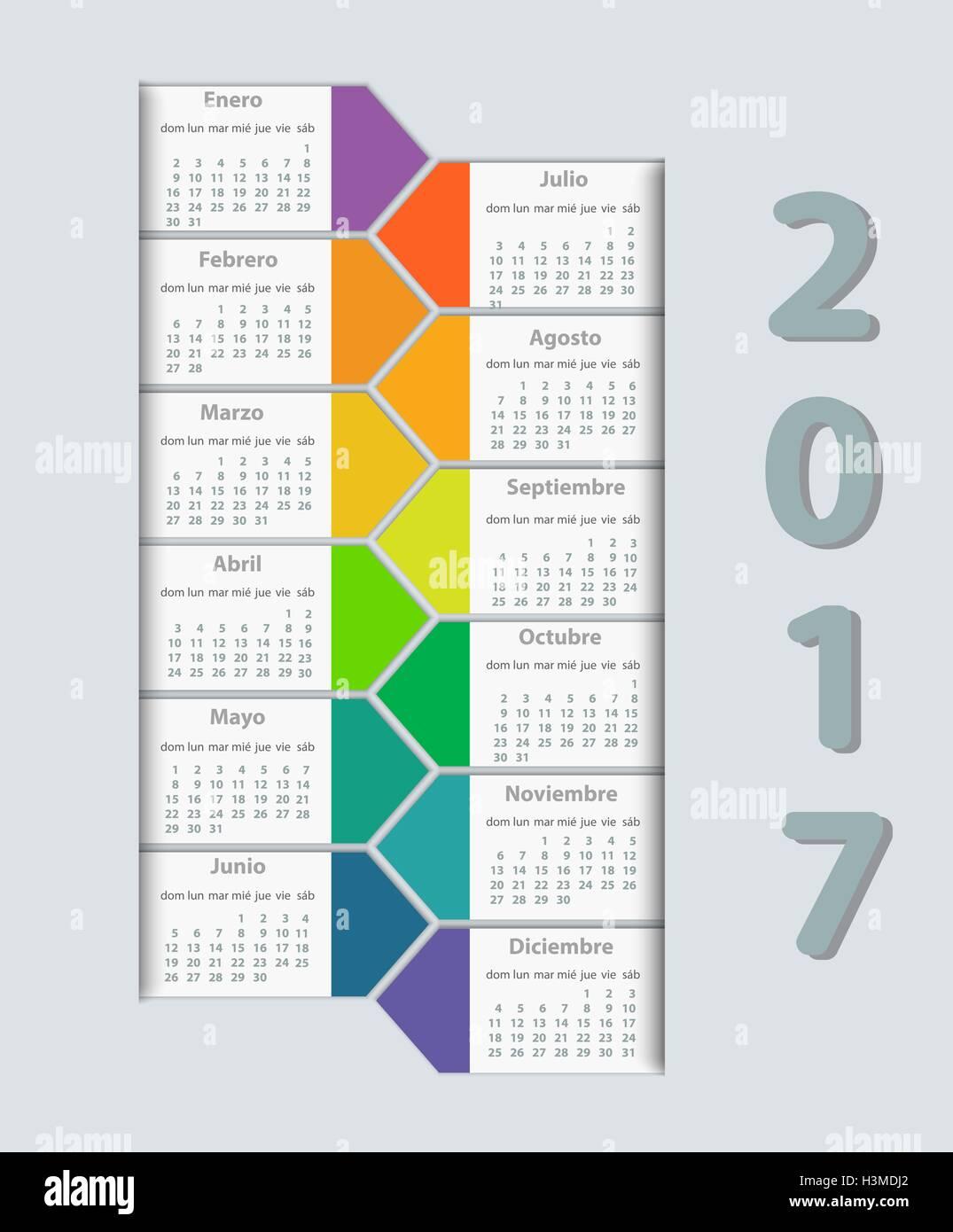 September Month In Spanish Calendar Stock Photos September Month