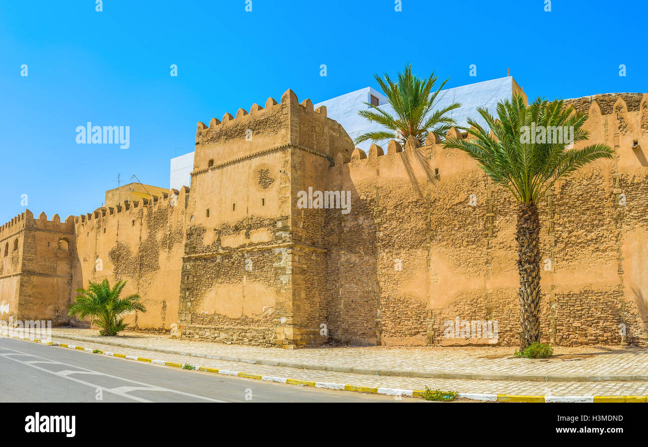 The old Medina of Sfax boasts the great medieval defensive complex of the stone ramparts and numerous towers, Tunisia. - Stock Image
