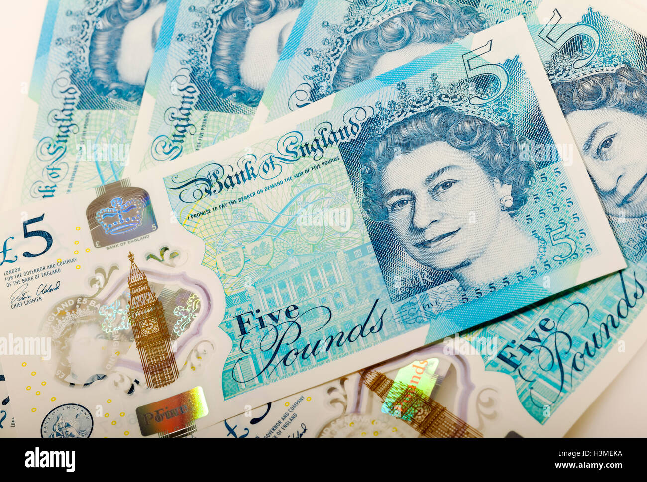 New polymer five pound notes England UK United Kingdom GB Great Britain - Stock Image
