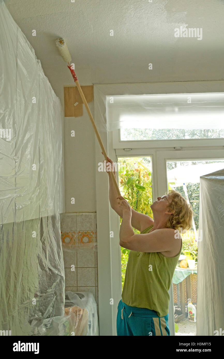 woman painting the flat - Stock Image