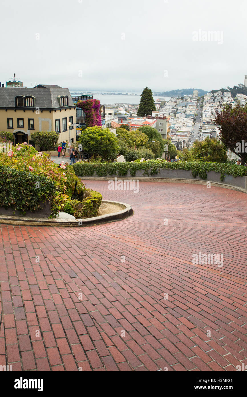 View of landmark Lombard Street, crooked street, in San Francisco California - Stock Image