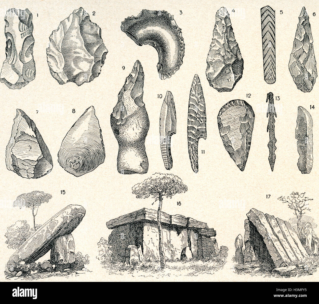 Stone Age weapons, tools and architecture. - Stock Image