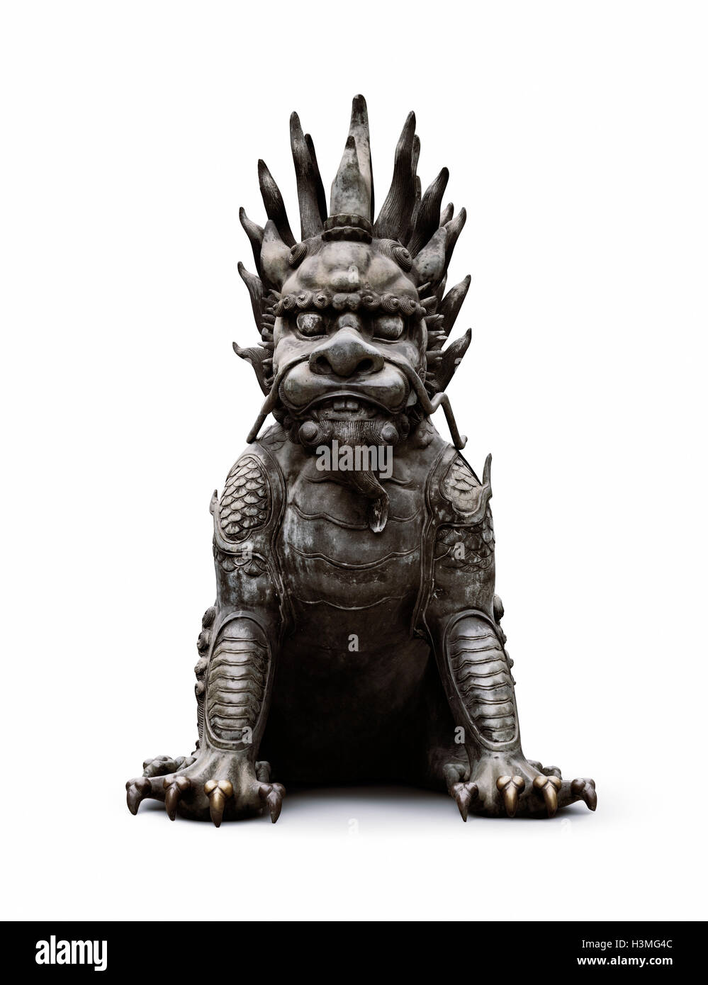 Chinese Guardian Lion Bronze Statue Foo Dog Gate Keeper Isolated