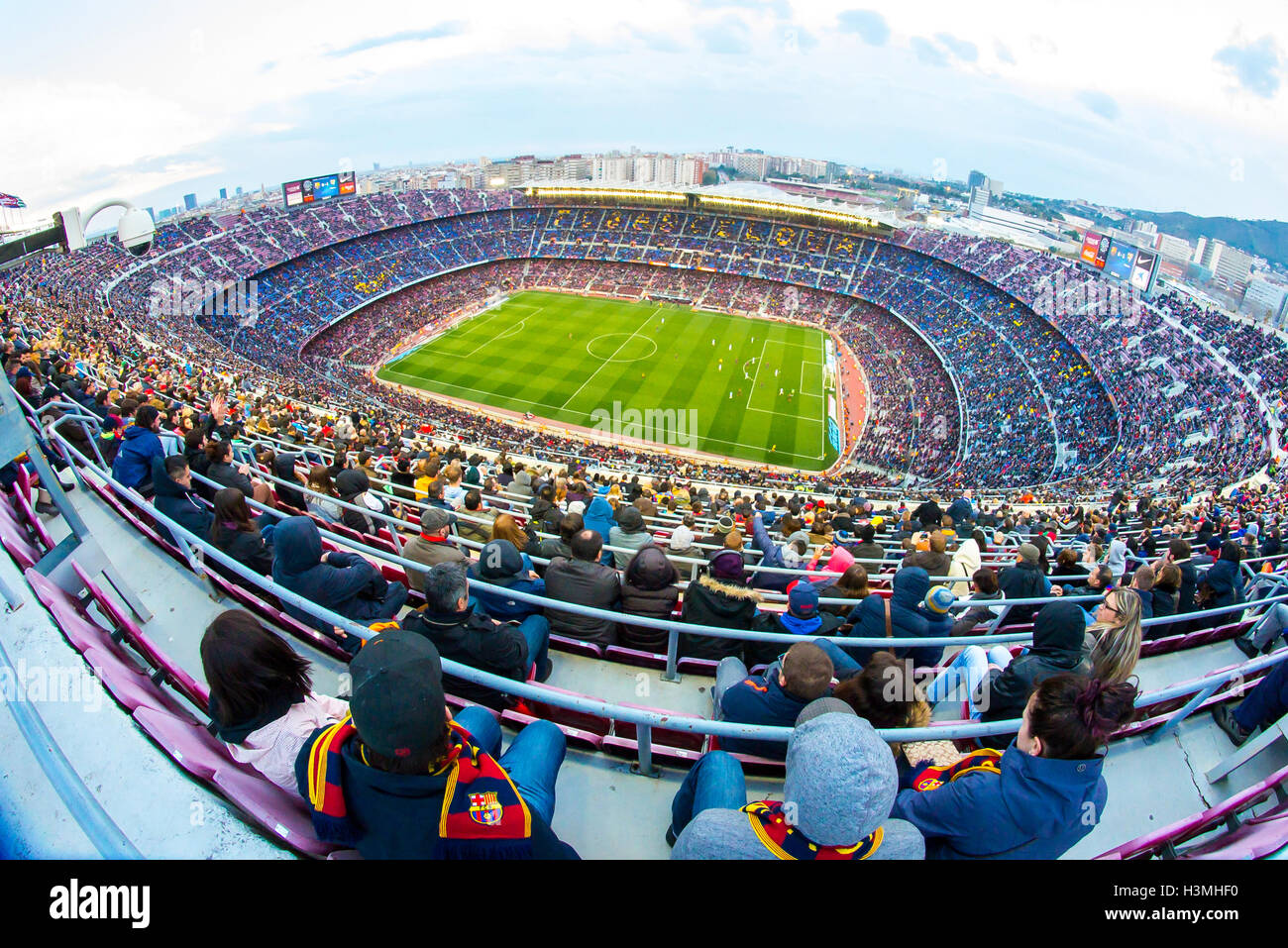 BARCELONA - FEB 21: A general view of the Camp Nou Stadium. Stock Photo