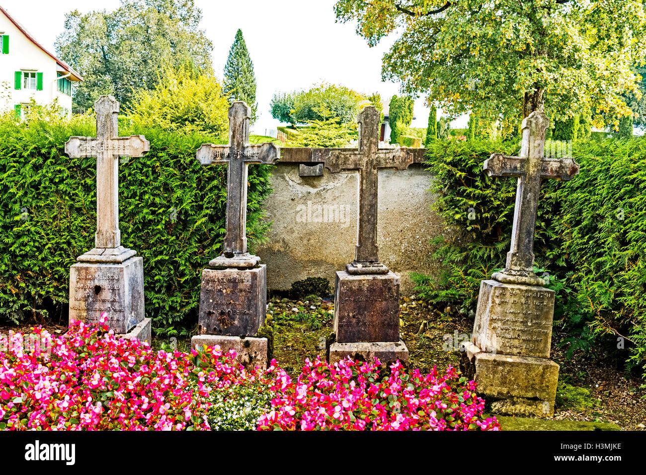 Churchyard at Hirzel, Kanton Zurich, Switzerland with the graves of the ancestors of Johanna Spyri; Gräber der Eltern von Spyri Stock Photo