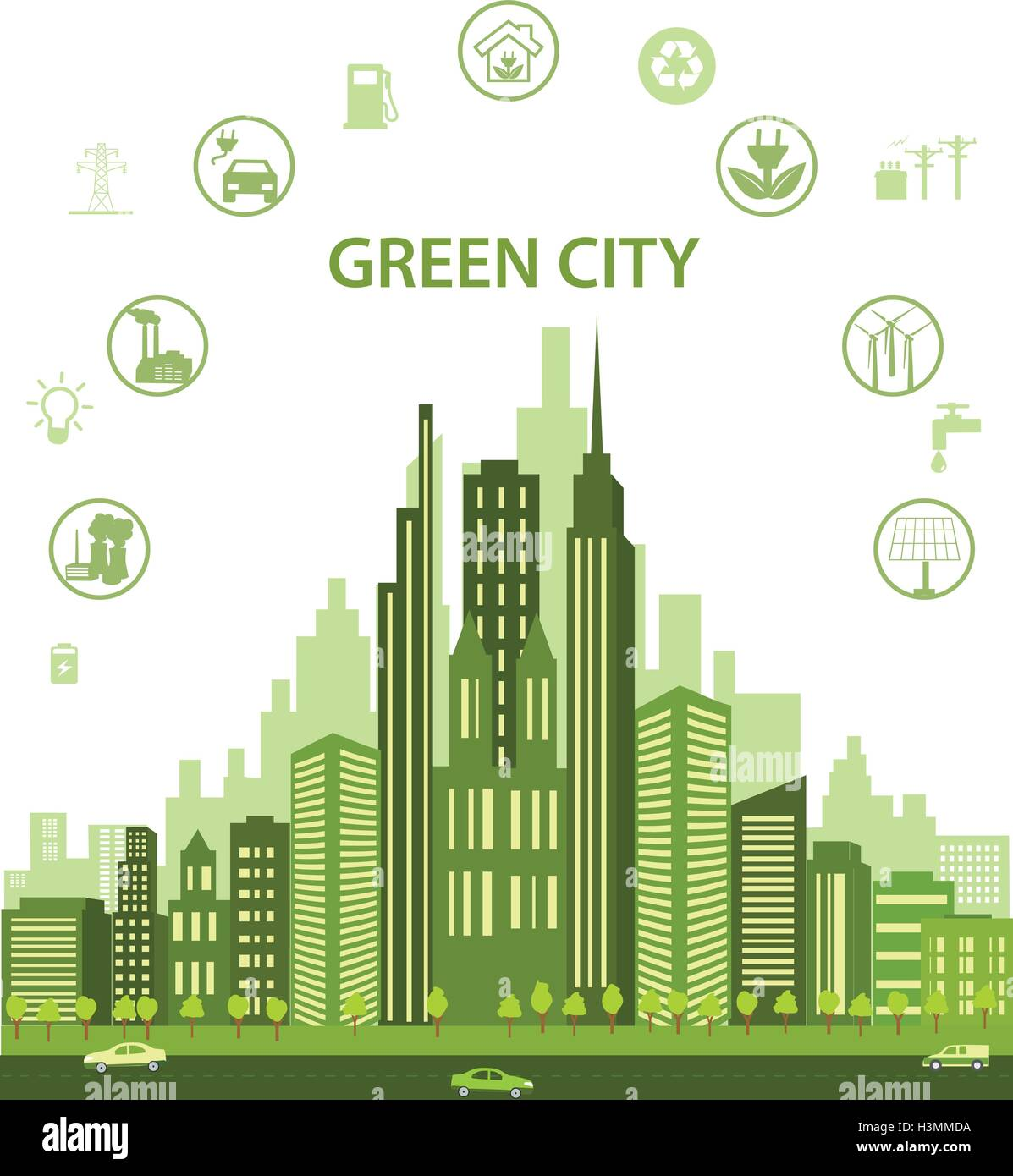 Green city concept with different icons and eco symbols. Modern city design with future technology for living. - Stock Vector