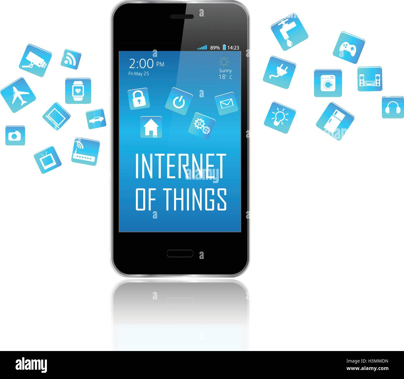 Smart phone with Internet of things (IoT) objects icon connecting together. Internet networking concept. - Stock Image