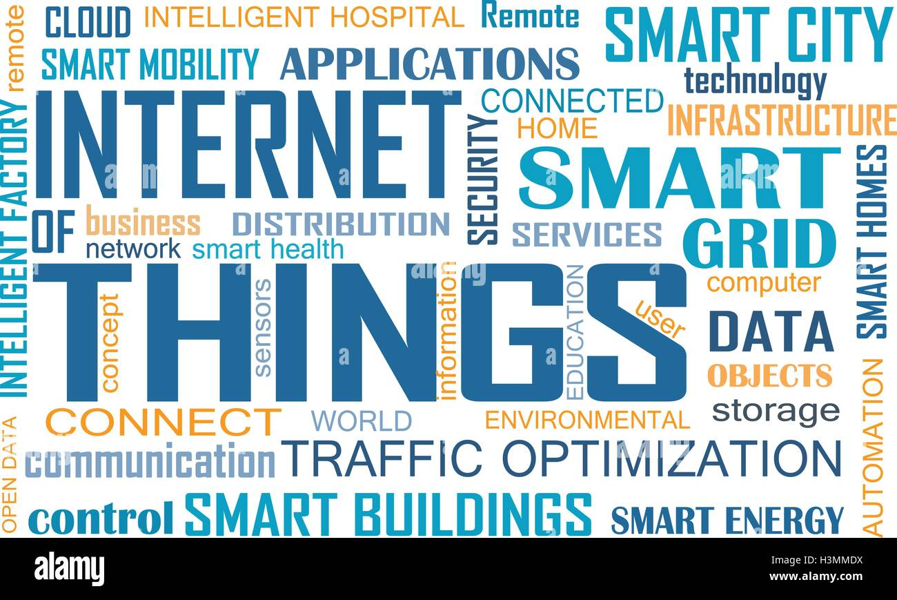 Internet of Things (IOT) word cloud concept. Cloud of relevant words illustrating Internet of Things concept - Stock Image