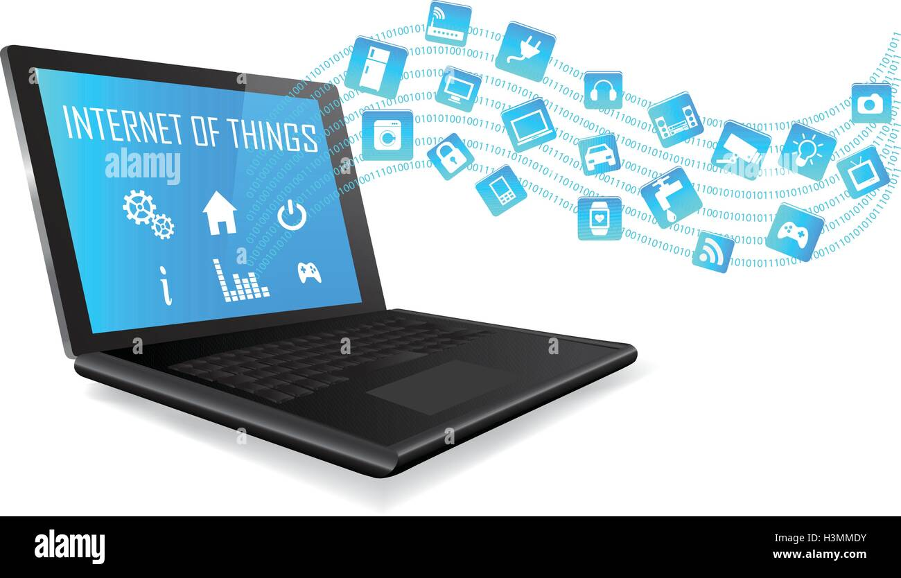 Laptop with Internet of things (IoT) icons connecting together. Internet networking concept. Application coming - Stock Image