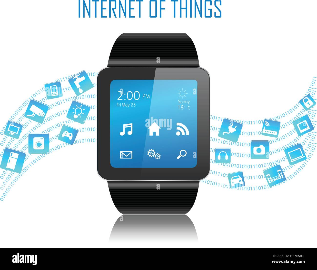 Smartwatch with Internet of things (IoT) icons connecting together. Internet networking concept. - Stock Image