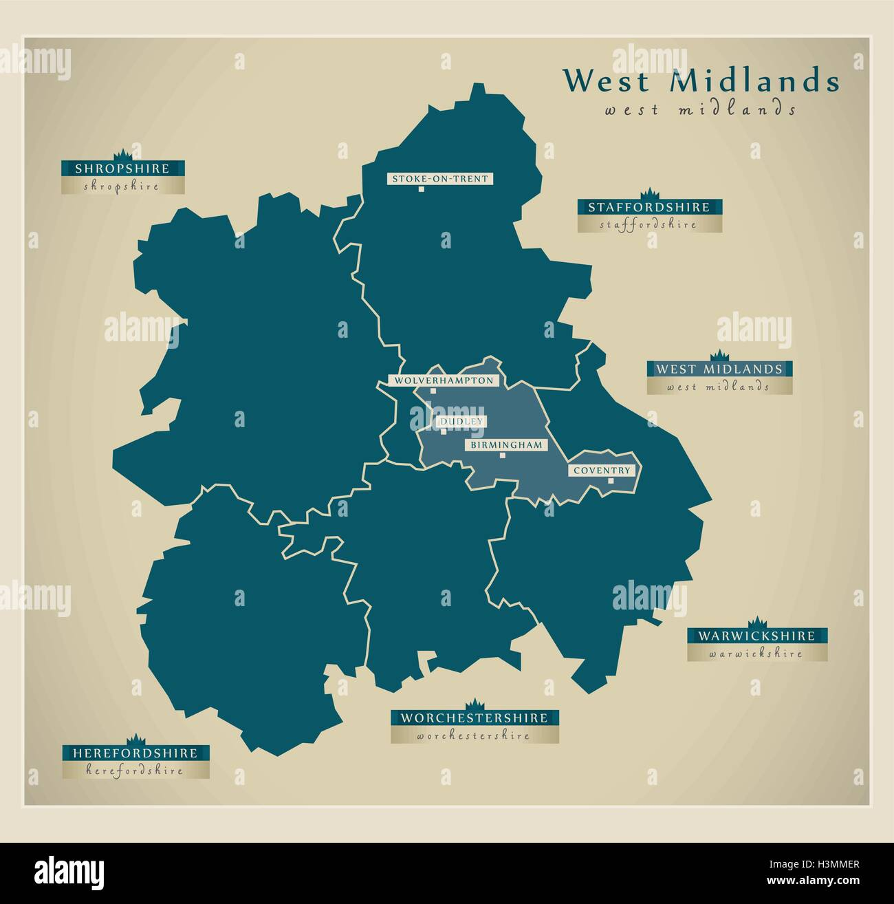 Map Of Uk Midlands.Modern Map West Midlands Uk Stock Vector Art Illustration
