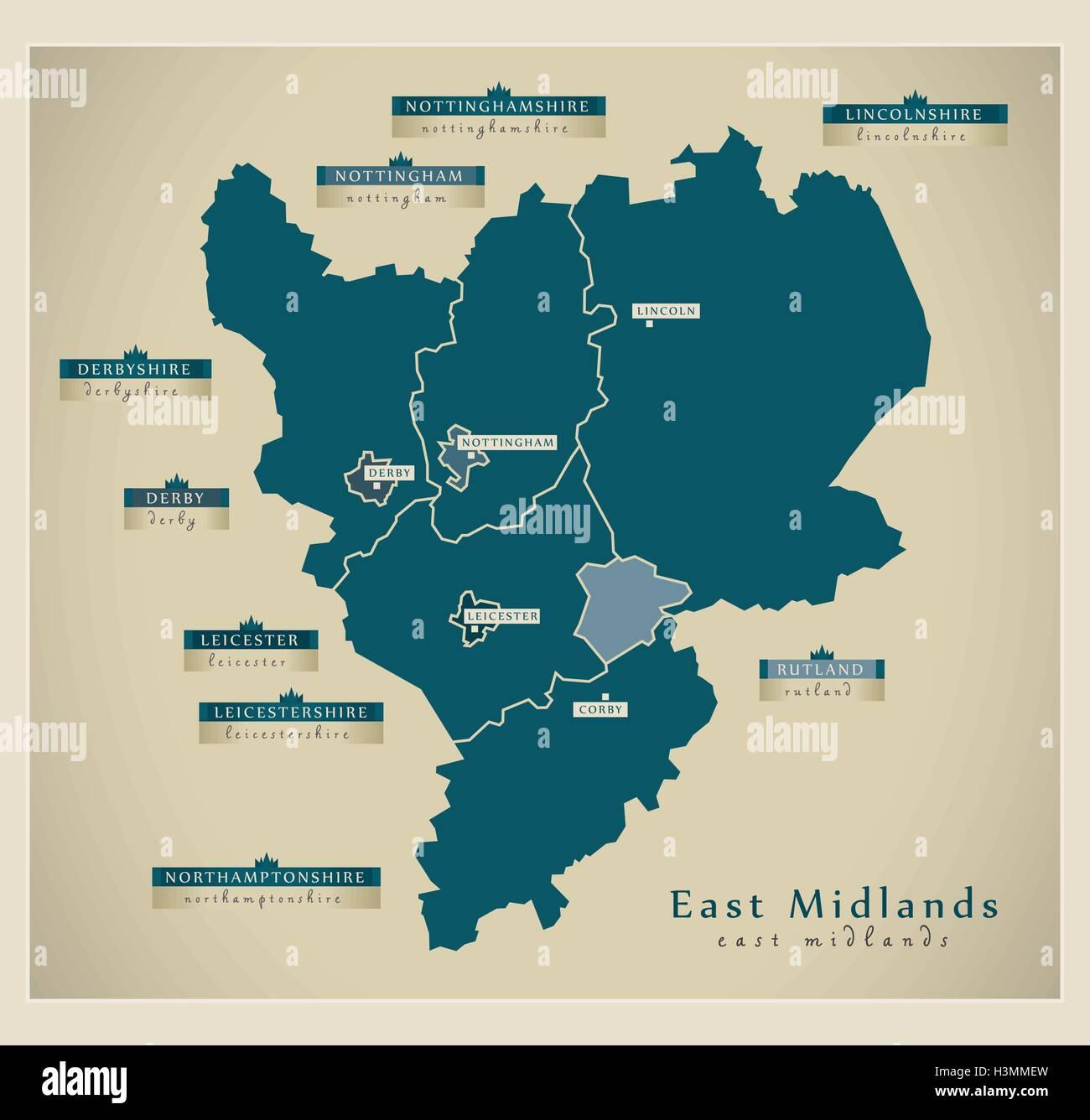 Modern Map East Midlands Uk Stock Vector Art Illustration