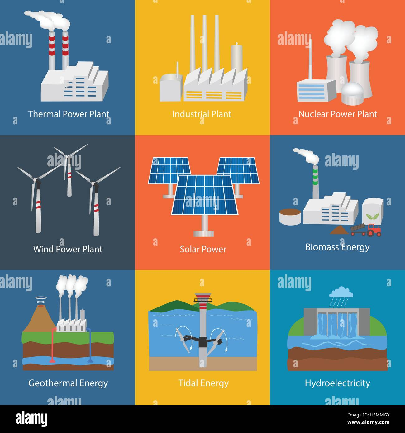 Illustration with different power plant icons:thermal, hydro, nuclear,  diesel, solar