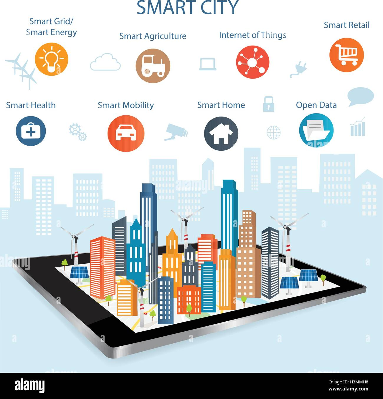 Smart city on a digital touch screen tablet with different icon and elements and environmental care.Modern city - Stock Image