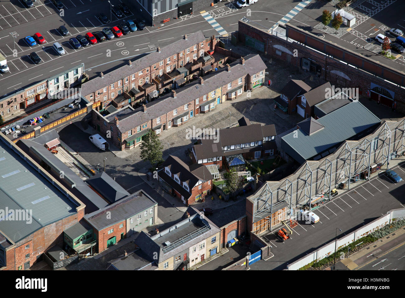 aerial view of the Coronation Street TV location set in Manchester, UK - Stock Image