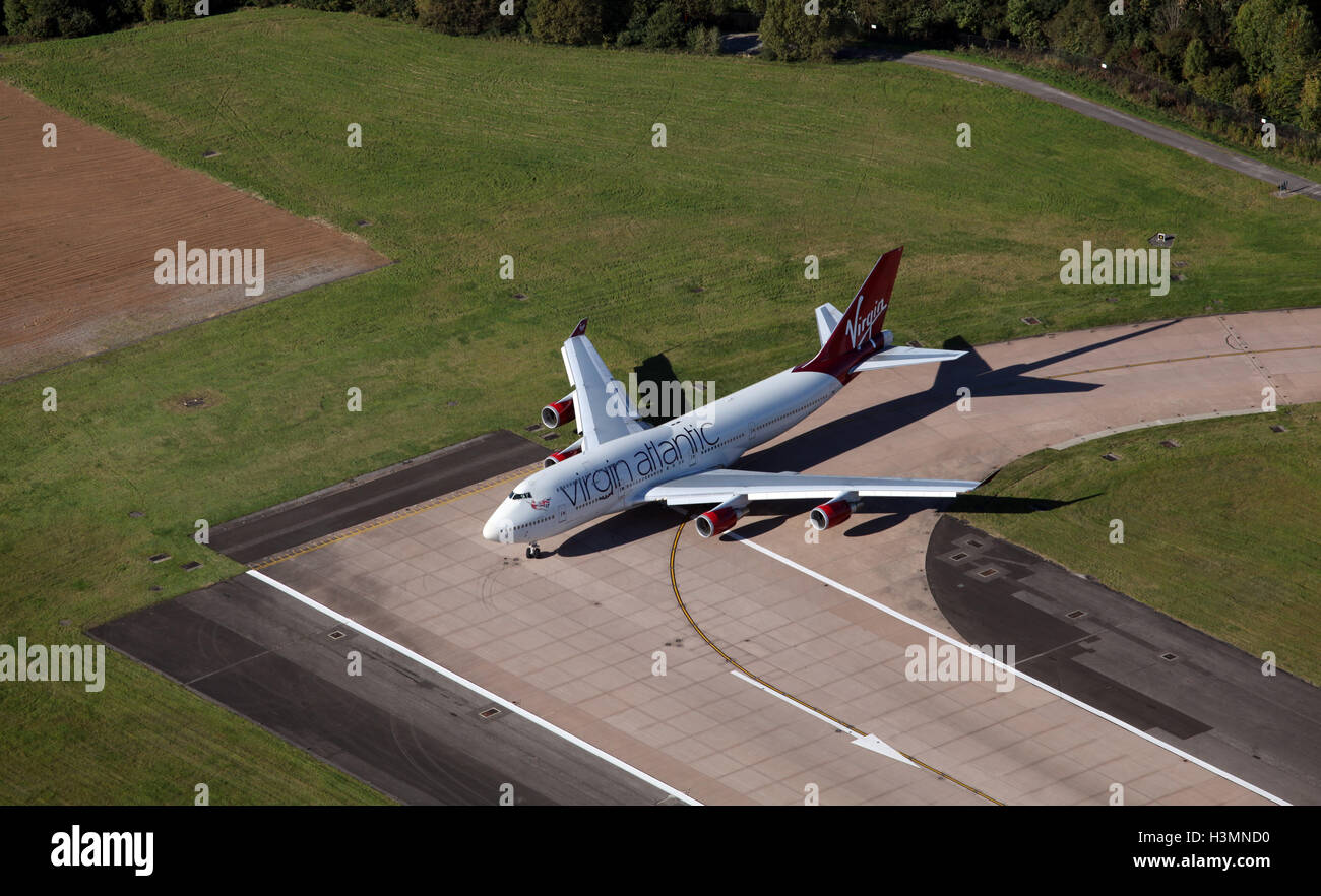 aerial view of a Virgin Atlantic Boeing 747 400 on the runway at Manchester AIrport, UK - Stock Image