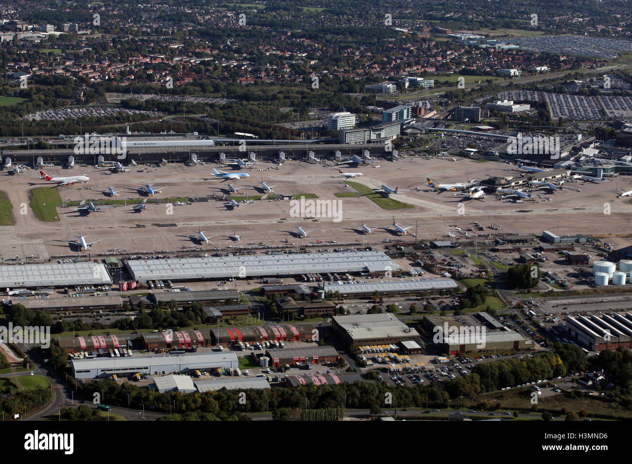 aerial view of Manchester Airport, UK - Stock Image