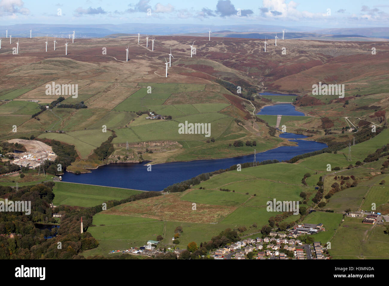 aerial view of Greenbooth Reservoir & Lower and Higher Naden Reservoirs near Rochdale, Lancashire, UK - Stock Image