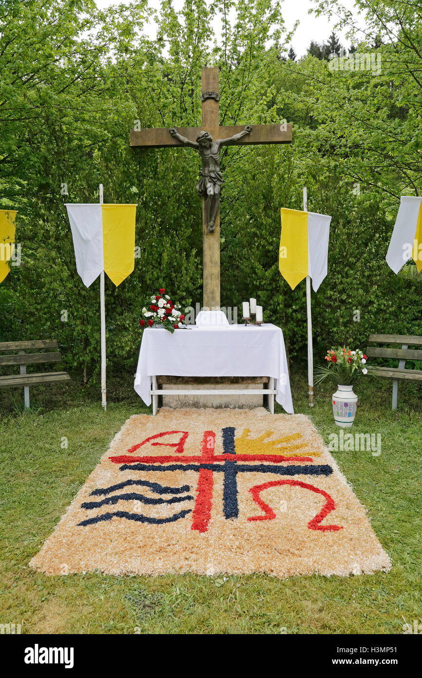 altar prepared for Whitsun procession, Rehringhausen, Olpe, Sauerland, North Rhine-Westfalia, Germany - Stock Image