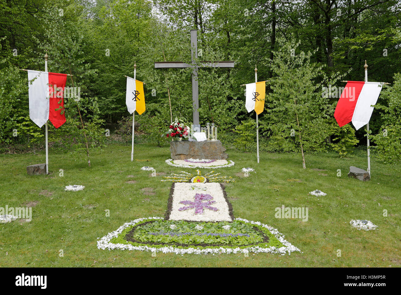 altar prepared for Whitsun procession, Neuenkleusheim, Olpe, Sauerland, North Rhine-Westfalia, Germany - Stock Image