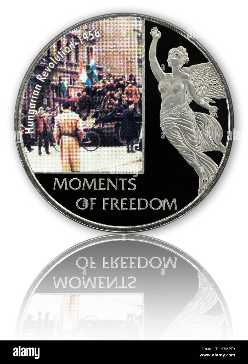 Commemorative coin of Hungarian revolution 1956 mirrored isolated on white background - Stock Image