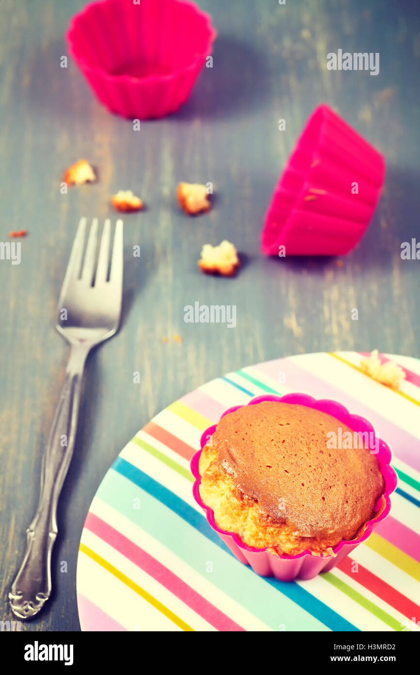 Vintage toned homemade muffin cup cake on a plate, shallow depth of field. - Stock Image